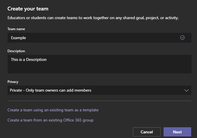 Enter the team name, the description, and privacy type and hit next.