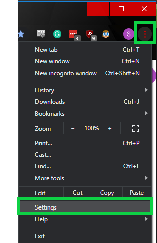 Click the settings button within the drop-down window