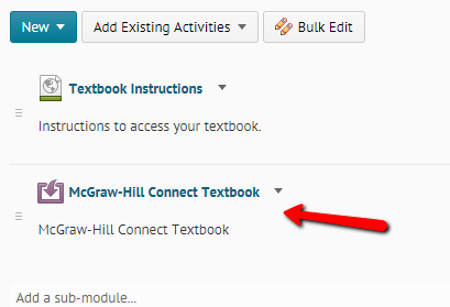 Opening the McGraw-Hill Connect link from the MH module in Learn@UW-Stout