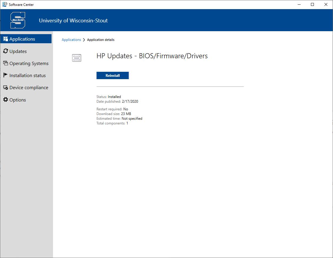 HP Update in Software Center