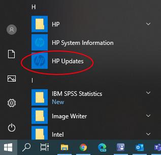 HP Updates in Start Menu