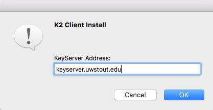 Image of Apple showing keyserver.uwstout.edu as server address