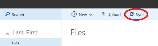 Sync Button Circled in OneDrive