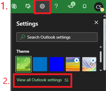 "Click on the gear icon and click ""view all outlook settings"" at the bottom of the window."