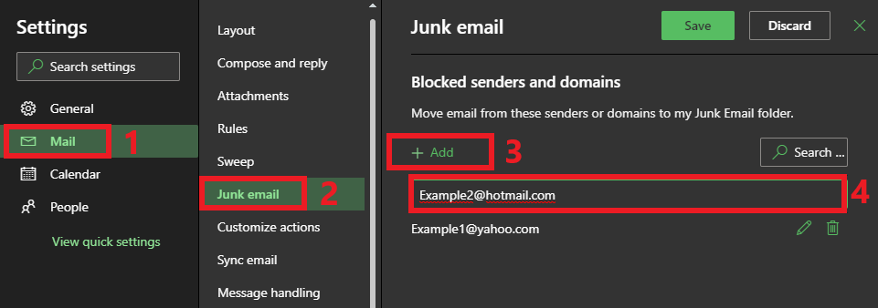 Click Mail, then Junk email, then the add button and enter the email address in and hit the ENTER key.