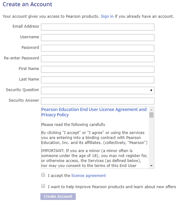 Create an account page 2