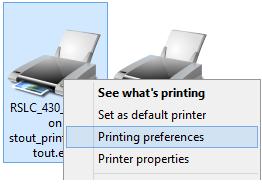 Printing preference