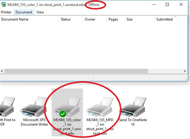 Networking Printing - Campus Printer offline or grayed out