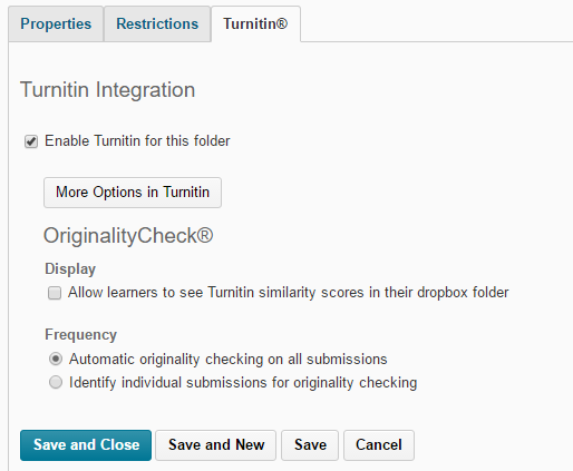 The Turnitin settings page