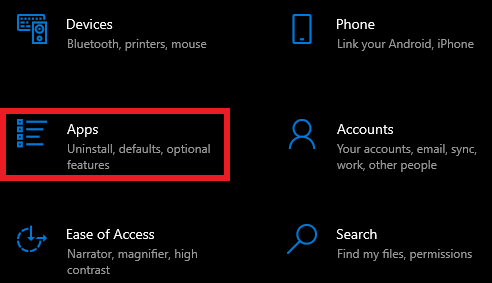 In the Windows settings window, click on apps.