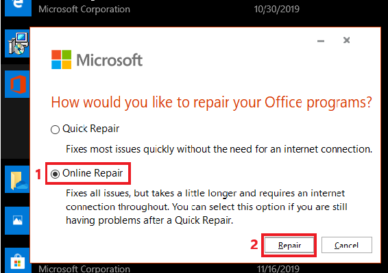 Select the Online Repair option and click the repair button.