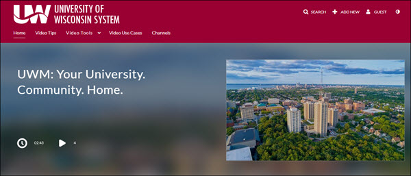 UW System Mediaspace homepage, with campus video for UW Milwaukee in the image carousel.